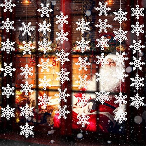 Boao 8 Packung Weiße Weihnachten Schneeflocke Ornamente Dekorationen Schnur Funkelnd Gefälschte Schnee Wandtattoos für Gefrorene Geburtstag Party Supplies Winter Wonderland Dekorationen (Winter Decor Wonderland Party)