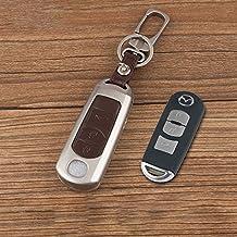 beamseed coche carcasa para llave de metal (color negro/marrón de cuero para Mazda 3CX-5Axela tres botones Smart remoto clave KeyCase llavero de aleación de zinc