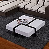 UEnjoy Coffee Table White Gloss Tempered Glass 4 Hidden Drawers Living Room Furniture