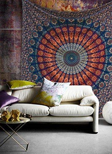 eSplanade Mandala Tapisserie goldene blaue Ombre Indien, Königin indische Mandala Picknickdecke...
