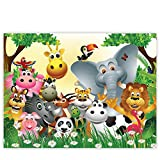Leinwandbild 100x75 cm PREMIUM Leinwand Bild - Wandbild Kunstdruck Wanddeko Wand Canvas - JUNGLE ANIMALS PARTY - Kinderzimmer Kindertapete Dschungel Zoo Tiere Giraffe Löwe Affe - no. 013
