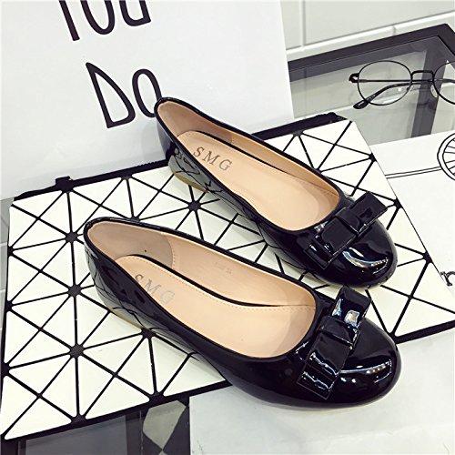 WYMBS Fond mou chaussures confortables télévision télévision travail ronde avec des chaussures simples chaussures grande taille Femme Black