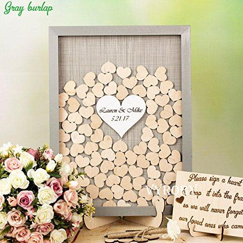 Gästebuch-Alternative zu Hochzeiten, individuelles Design, Bilderrahmen mit rustikalen Holzherzen, Grau
