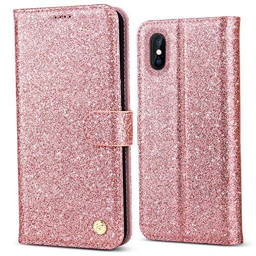 BELKA Phone Case for Apple iPhone XS Max 6,5-Zoll, Luxus Bling Glitter PU-Leder-Schutz mit [Kartensteckplätzen] [RFID Blocking] [Standfunktion] für Fashion Girls - Rose Gold (Iphone 5 Case Fashion Girl)