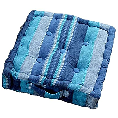 Homescapes Morocco Striped 100% Cotton Floor Cushion Blue 40 x 40 x 8 cm Square Indoor Garden Dining Chair Booster Seat Pad