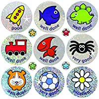 Sparkly reward stickers - 36/10mm. 4 x A4 sheets, 236 stickers. Mixed images and captions.
