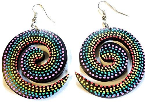 boucles-doreilles-en-bois-artisanat-bijoux-ethnique-spirale-peint
