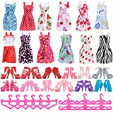 Enlarge toy image: Asiv 12 Dresses, 12 Paris of Shoes, 12 Hangers Accessories for Barbie Dolls for Girls Gift (36 Pieces) -  preschool activity for young kids