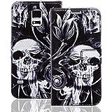 Samsung Galaxy S4 Handy Tasche mit Motiv Schutz Hülle aus PU Leder mit Kartenfächer und Standfunktion Etui Flip Case Wallet mit Smoke Skull Abbildung Motiv: QBY-003