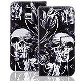Numerva Samsung Galaxy S5 Mini Hülle, Schutzhülle [Design Handytasche Motiv] PU Leder Tasche für Samsung Galaxy S5 Mini Wallet Case [QBY-003 Skull and Bones]