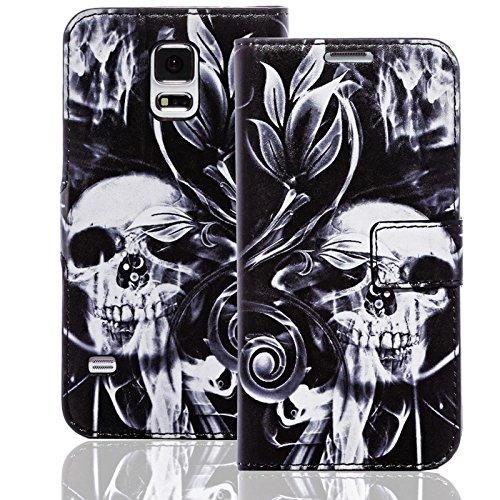 Numerva HTC Desire 310 Hülle, Schutzhülle [Design Bookstyle Handytasche Motiv] PU Leder Tasche für HTC Desire 310 Wallet Case [QBY-003 Skull and Bones]