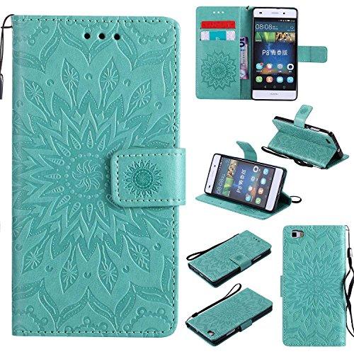 Bear Village Funda Huawei P8 Lite, Cuero Fundas con [Garantía de por Vida], Protección De Cuerpo Completo Carcasa Case Cover para Huawei P8 Lite (#1 Verde)