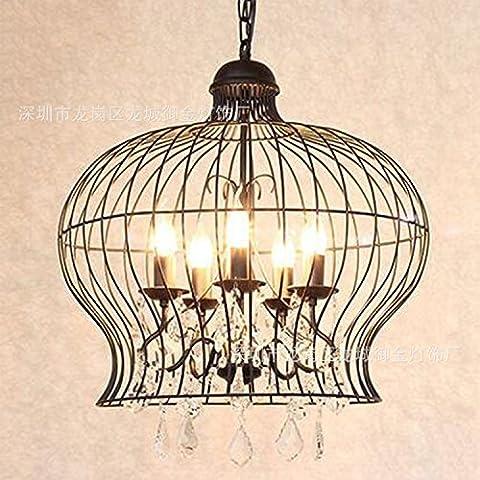 LIVY Lampade in ferro battuto d'epoca americane e gabbia il Loft restaurant e Cafe loft nostalgia creativo cristallo lampadario