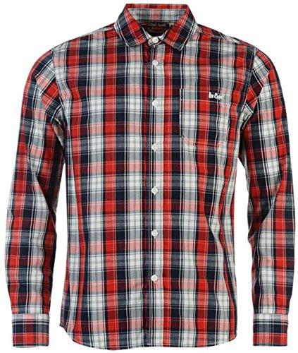 Lee Cooper, motivo Junior-Maglietta maniche lunghe, con motivo a quadri multicolore Navy/Red/White