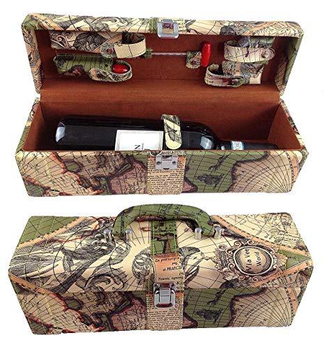 GMMH LN 16 - 11 - Set accessori da vino, 6 pezzi, idea regalo, con coltellino da sommelier, cavatappi, taglia pellicola, tappo, termometro da vino, versatore, in elegante scatola di legno di colore rosso scuro.