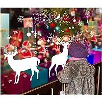 Skyllc® amovibles wapitis élégantes et Noël blanc et vert de Noël fenêtre décoration stickers muraux pour le jour de Noël Larry