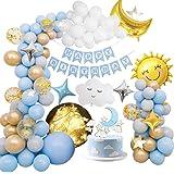 MMTX Decorazioni per feste di compleanno Ragazzi, Palloncini per feste Decorazione con Happy Birthday striscione, palloncino