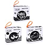 Soft Cloth Books For Babies, My First Soft Books Early Development Soft Toys, Black And White Cloth Books With Animals...