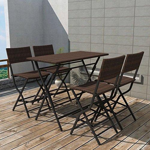 Lingjiushopping Set de table et chaises hautes de jard š ªn 5 pièces Poli Rat š ¢ n m š ® n dimensions de la table : 120 x 60 x 101 cm (longueur x largeur x hauteur)