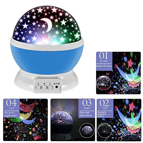 Lámpara de Noche,Sunvito Romántica Rotación de Estrellas Luna Cielo Proyector a Bebés...