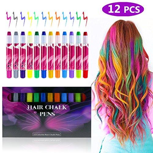 Zexuan 12 Farben Haarkreide,Temporäre Haar Kreide Set Metallische Glitter, Haarkreide Auswaschbar und ungiftig Haare Kreide Stifte für Parties, Cosplay, Weihnachten Saubere Hände, Leicht Auswaschbar