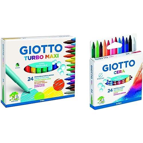 """""""Giotto 455000 Pennarelli Turbo Maxi Punta Larga, 5 Mm, Conf. Da 24 Tonalita' Di Colori & Giotto 282200, Pastelli A Cera In Astuccio Da 24 Colori"""