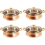 IndianArtVilla Stainless Steel Copper Casserole Bowl, Serving Indian Food Daal Curry Home Restaurant, 4 Pieces
