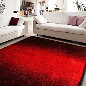 Tapis shaggy casa pura® FADE poil long en rouge | certifié GUT / PRODIS - cachet Blauer Engel | qualité premium | 160x230cm