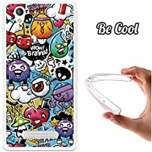 Becool - Funda gel flexible zte blade a452 grafiti de colores divertido carcasa case silicona tpu suave