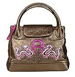 Aigner Luxus Echt Leder Damen Handtasche Tasche Henkeltasche Shopper bronze
