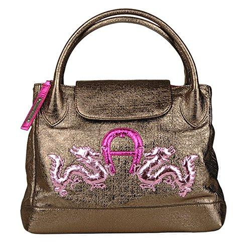 Orig. Aigner Design Luxus Leder Handtasche Tasche Shopper Henkeltasche bronze