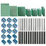 IZOKEE 70 Stücke Lochrasterplatine Doppelseitig Kit, 7 Größen 25 Stücke Lochrasterplatte Leiterplatte Platine PCB Universal Prototype Board + 30 Stiftleiste +15 Screw Terminal