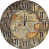 Artland Wand-Analog-Funk-Quarz-Uhr Digital-Druck auf Echt Glas mit Motiv W. L. Antike Uhr Architektur Architektonische Elemente Fotografie Braun A5YF