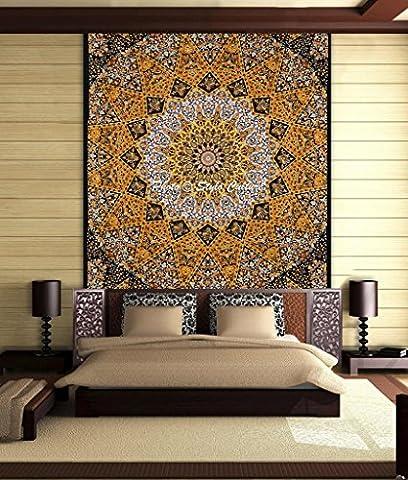 Stylo Culture Éléphant Mandala Tapisserie Coton Jaune Noir Reine Imprimé Star Paisley Wall Hanging