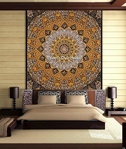 pluma-cultura-elefante-mandala-tapiz-de-algodon-amarillo-reina-negro-paisley-impreso-estrella-colgar