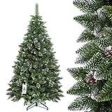 FAIRYTREES Albero di Natale artificiale PINO, innevato bianco naturale, materiale PVC, vere pigne, incl. supporto in metallo, 150cm