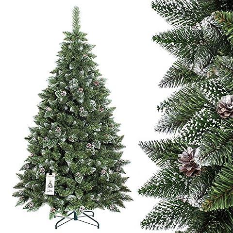 FAIRYTREES sapin arbre de Noêl artificiel PIN, naturel blanc enneigé, matière PVC, pommes de pin vraies, socle en métal, 180cm
