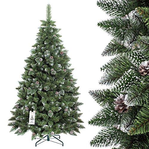 FAIRYTREES Artificiale Albero Di Natale PINO, Innevato Bianco Naturale,  Materiale PVC, Vere Pigne
