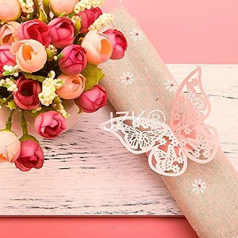 JZK® 50 x Pearly anneau papier de serviette pour bébé de mariage douche communion graduation anniversaire fête de Noël ou diverses occasions, ronds de serviette (papillon rose)