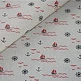 Maritim Stoff Canvas Baumwolle Meterware Segelboot Anker