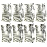 8 PCS 20-Teeth Stainless Steel Metal Wire Teeth Hair Pin Comb for DIY Bridal Headdresses Veils Crafts Silver