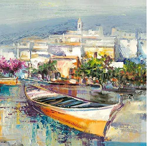 Rahmen-Kunst Keilrahmen-Bild - Luigi Florio: Paese mediterraneo Detail Leinwandbild Küste Hafen Meer Dorf Italien