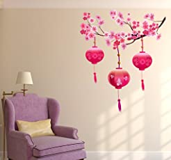 Decals Design 'Chinese Lamps Lantern on Floral Branch' Wall Sticker (PVC Vinyl, 90 cm x 60 cm, Multicolour)