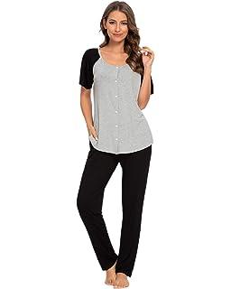 Sykooria Womens Cotton Striped Short Sleeve Round Collar Lounge Pajamas Set with Pockets Ladies Two Pieces Nightwear S-XXL
