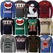 Mens Novelty Christmas Jumper Ho Ho Ho Xmas Season Knitwear Sweater Pullover, REINDEER Navy, Medium