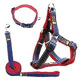 Eightnight Einstellbare Durable Denim Dog Harness Leine F¨¹hrende Strap Collar Set f¨¹r Training Walking Laufen (Large)
