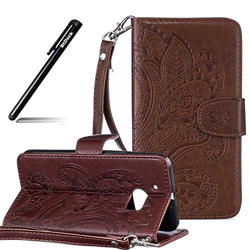 BtDuck HTC 10 Hülle Leder, Brieftasche Flip Cover Portable Carrying Strap Embed Patterned Handytasche PU Leder Schutzhülle für HTC One M10 Tasche Handyhülle (Braun)