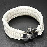 SODIAL(R)7 Strand survie Weave militaire Bracelet cordon Buckle - blanc