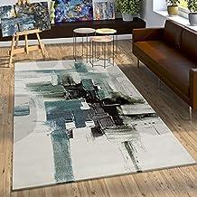 Alfombra Moderna Estilo Lienzo Estética Salpicaduras De Pintura Turquesa Crema, Grösse:160x230 cm
