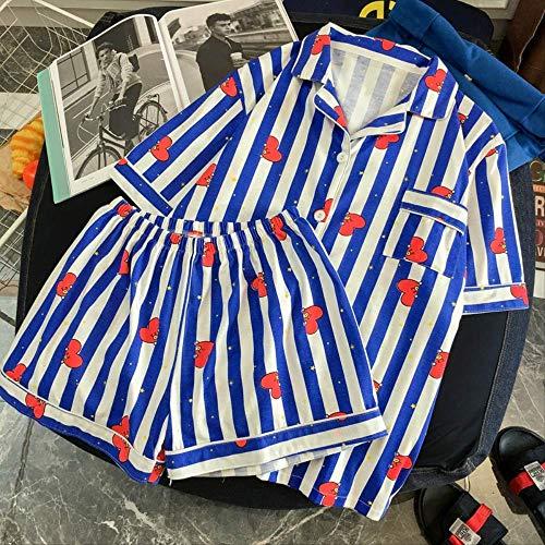NSSYSKS Frauen Pyjama Set Bangtan Kpop Harajuku Cartoon Streifen Gedruckt Pyjama Korean Pijama Mujer Baumwolle Sleeepwear XL zangqing - Streifen-flanell-pyjama